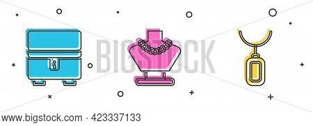 Set Jewelry Box, Necklace On Mannequin And Pendant Necklace Icon. Vector