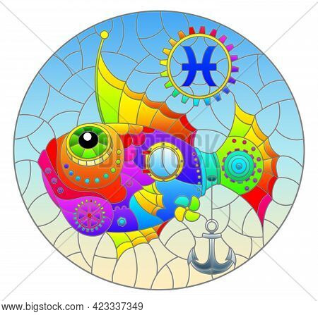 Illustration In The Style Of A Stained Glass Window With An Illustration Of The Steam Punk Rainbow S