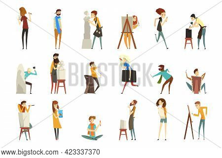 People Of Creative Professions Set, Sculptor, Painter, Craftsman, Artistic People Characters Cartoon