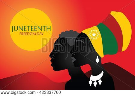 Juneteenth Freedom Day. Silhouette Of African American Woman And Man With Headdress With Juneteenth