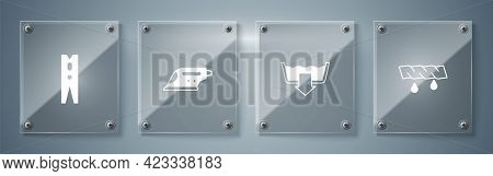 Set Squeeze Clothes, Washing Modes, Electric Iron And Clothes Pin. Square Glass Panels. Vector