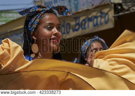 Arica, Chile - January 23, 2016: Group Of Dancers Of Africa Descent (afrodescendiente) Performing At