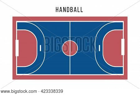 Handball Court Top View. Blue Red Court For Playing Sport Games With Ball. Flat Vector Illustration.