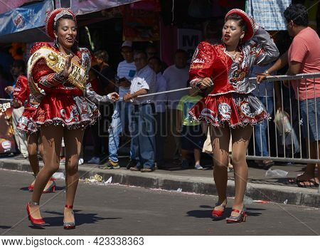 Arica, Chile - January 23, 2016: Caporales Dance Group Performing At The Annual Carnaval Andino Con