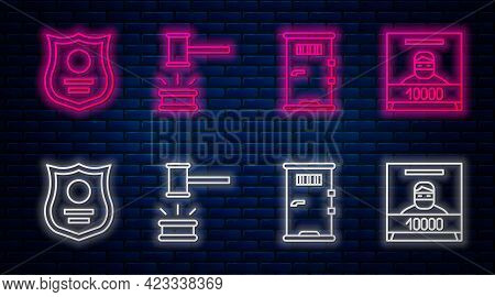 Set Line Judge Gavel, Prison Cell Door, Police Badge And Wanted Poster. Glowing Neon Icon On Brick W