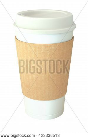 Blank Takeaway Coffee Cup, Cover And Sleeve Isolated On White Background