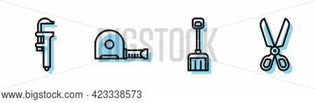 Set Line Snow Shovel, Calliper Or Caliper And Scale, Roulette Construction And Scissors Icon. Vector