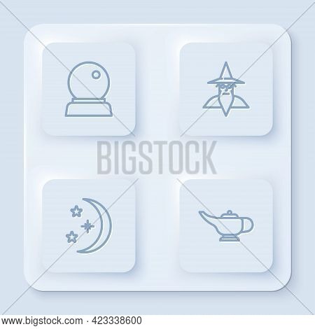 Set Line Magic Ball, Wizard Warlock, Moon And Stars And Lamp Or Aladdin. White Square Button. Vector