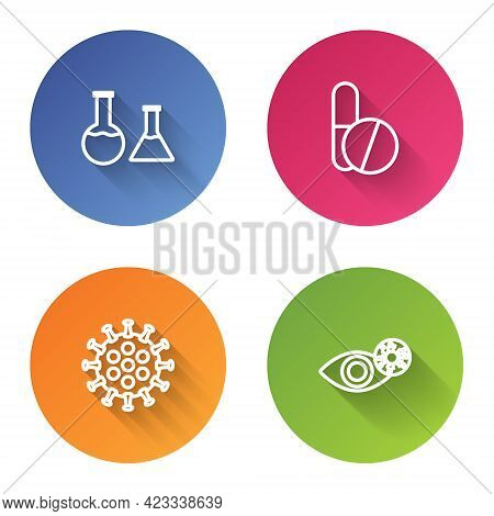 Set Line Test Tube And Flask, Medicine Pill Or Tablet, Virus And Reddish Eye Due To Virus. Color Cir
