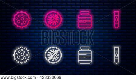 Set Line Stop Virus, Medicine Bottle And Pills, Virus And Blood Test. Glowing Neon Icon On Brick Wal