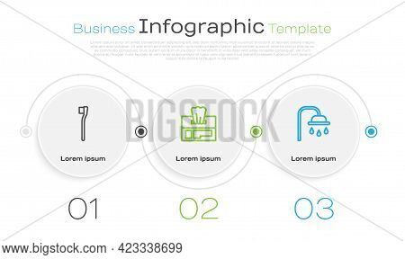 Set Line Toothbrush, Wet Wipe Pack And Shower Head. Business Infographic Template. Vector