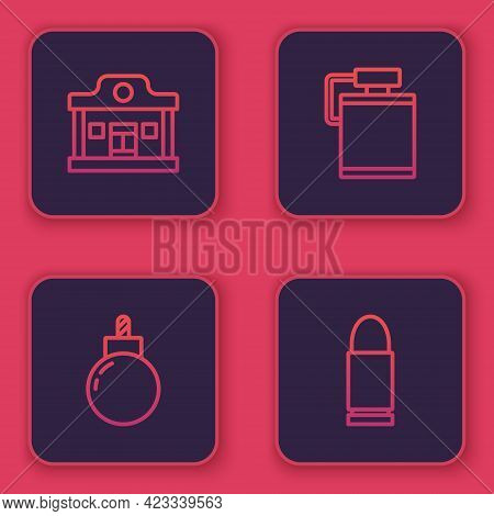 Set Line Wild West Saloon, Bomb Ready To Explode, Canteen Water Bottle And Bullet. Blue Square Butto