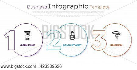 Set Line Drum, Tequila Bottle And Lasso. Business Infographic Template. Vector
