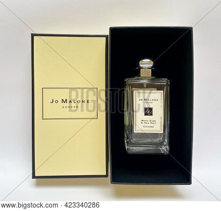 Grodno, Belarus - 06.12.2021: Jo Malone Perfume Bottle From A Yellow Branded Box On A White Isolated
