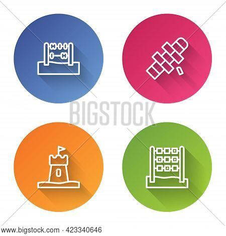 Set Line Abacus, Hopscotch, Sand Tower And Tic Tac Toe Game. Color Circle Button. Vector