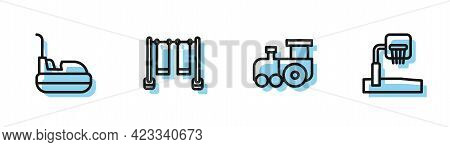 Set Line Toy Train, Bumper Car, Double Swing And Basketball Backboard Icon. Vector