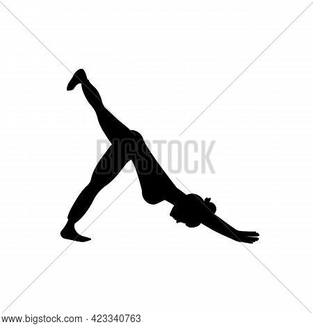 Woman Performs Sports Exercises, Black Silhouette On White Background. Slim Girl Practices Downward