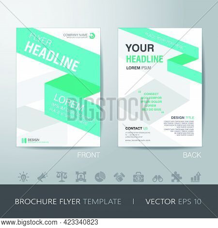 Ribbon Business Brochure Flyer Design Layout Template In A4 Size, With Bleed, Vector Eps10.