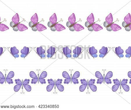 Butterflies Horizontal Border Repeat Pattern, Japanese Washi Tape, Seamless Simple Hand Drawn Orname