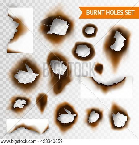 Set Of Scorched Piece Of Paper And Burnt Holes On Transparent Background Isolated Vector Illustratio