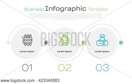 Set Line Dynamite And Timer Clock, Murder And Grave With Tombstone. Business Infographic Template. V