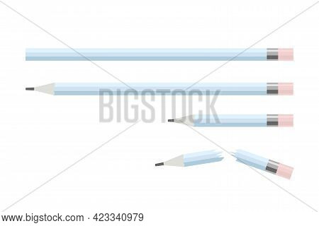 Set Of Wooden Graphite Pencils With Eraser. Long, Short And Broken Pencil. Stationery Isolated On Wh
