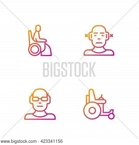 Set Line Electric Wheelchair, Poor Eyesight, Woman In And Deaf. Gradient Color Icons. Vector