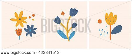 Cute Infantile Style Nurser Vector Illustration With Hand Drawn Colorful Flowers On A Light Beige Ba