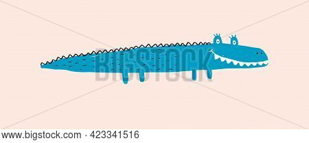 Cute Simple Vector Illustration With Green Smiling Alligator Isolated On A Pastel Pink Background. S