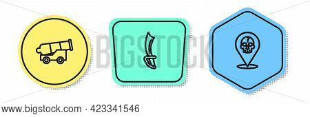 Set Line Cannon, Pirate Sword And Location Pirate. Colored Shapes. Vector