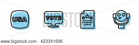 Set Line Declaration Of Independence, Usa Independence Day, Vote And Tourist Binoculars Icon. Vector