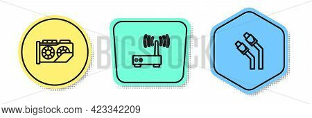 Set Line Video Graphic Card, Router And Wi-fi Signal And Lan Cable Network Internet. Colored Shapes.