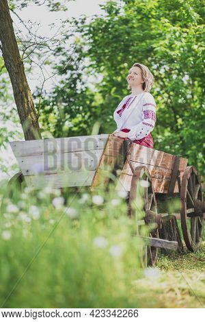 Beautiful Peasant Woman In Embroidered Clothes Laughing On The Cart