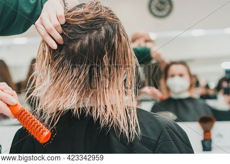 Combing Wet Hair, Clean And Washed Head, Preparation For A Haircut.