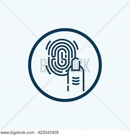 Fingerprint, Human Finger Print, Thumbprint. Flat Vector Icon Illustration. Simple Black Symbol On W