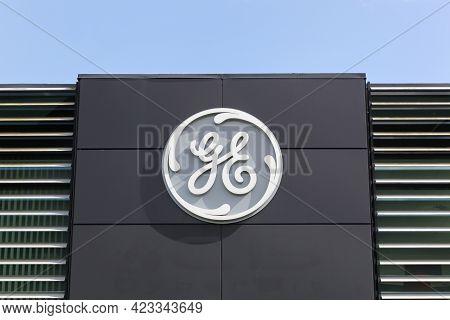 Fredericia, Denmark - April 21, 2018: General Electric Compagny Logo On A Wall. General Electric Com