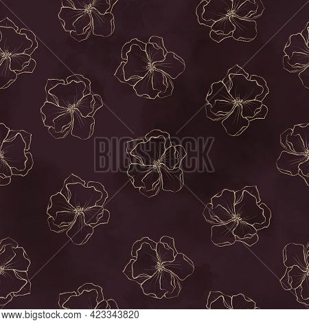 Seamless Pattern. Gold Outlines Of Spring Flowers And Leaves