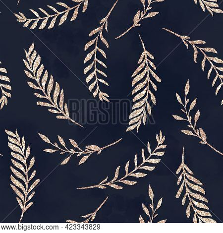 Seamless Pattern. Golden Branches And Leaves.digital Print