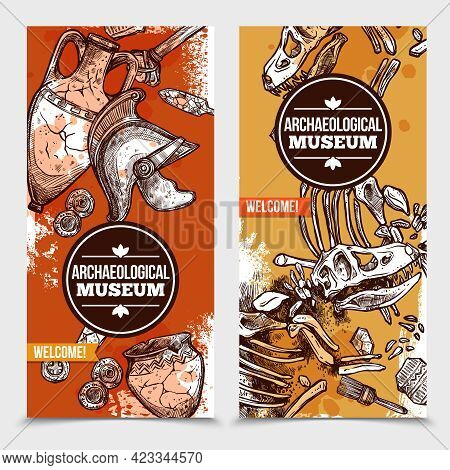 Two Hand Drawn Archeology Vertical Banners With Images Of Exhibits Of Archaeological Museum And Tool