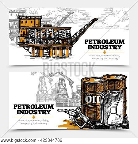 Petroleum Industry Hand Drawn Horizontal Banners With Tanks And Filling Gun Icons And Oil Derricks A