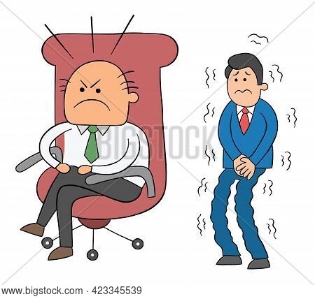 Cartoon Angry Boss Man Sitting In His Chair And Scared Worker Waiting Behind Him, Vector Illustratio