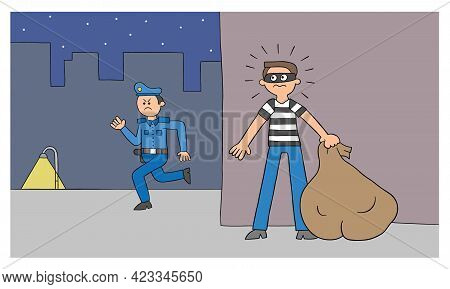 Cartoon Thief Man Is Hiding Behind The Wall, The Police Are Looking For Him, Vector Illustration. Bl