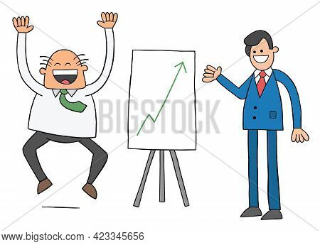 Cartoon Worker Man Shows The Boss The Sales Chart And The Boss Is Very Happy That The Sales Are High