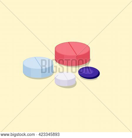 Medical Round Shape Pills Set In Isometry