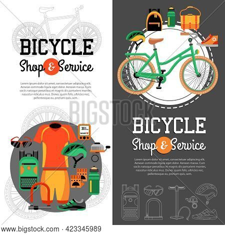 Two Vertical Banners With Advertising Of Mountain Biking Accessories Shop And Service For Bicycle Ve