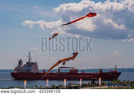 Russia. June 6, 2021. Aerial Flying Figures On Fort Constantine During The Kronstadt Sail Festival.