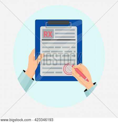 Doctor Putting Signature In Rx Form Vector