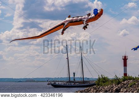 Russia. Kronstadt. June 6, 2021. Aerial Flying Figures In The Form Of Various Animals And Creatures