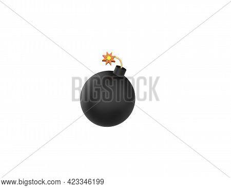 Black Round Bomb With Burning Fuse 3d Render Cartoon Model Isolated White Background.