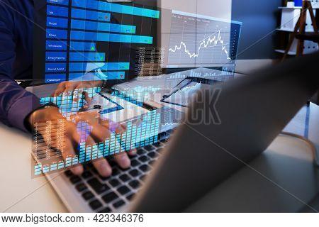 Business Data Analyst Man Using Kpi Analytics On Computer